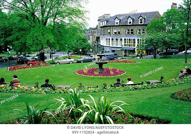 Harrogate, North Yorkshire, England  Across floral garden park in the town centre to Sotheby's auction rooms