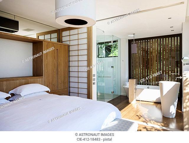 Luxury bedroom and en suite bathroom