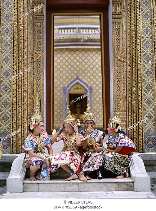 Asia, Bangkok, Costume, Dancing, Girls, Holiday, Landmark, Model, Released, Thailand, Tourism, Traditional, Travel, Vacation