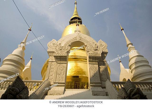 Wat Suan Dok royal chapel with white chedis Chiang Mai north Thailand