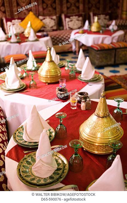 Moroccan Restaurant Interior. Hotel Kasbah Asmaa. Rissani. Tafilalet. Morocco