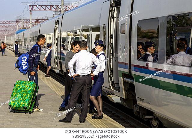 The Afrosiyob High Speed Train Waiting At The Train Station, Bukhara, Uzbekistan