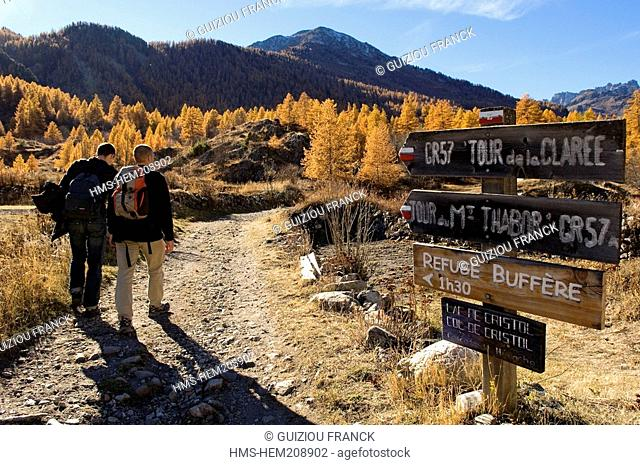France, Hautes Alpes, the Brianconnais area in autumn, La Claree Valley, hike starting at Nevache