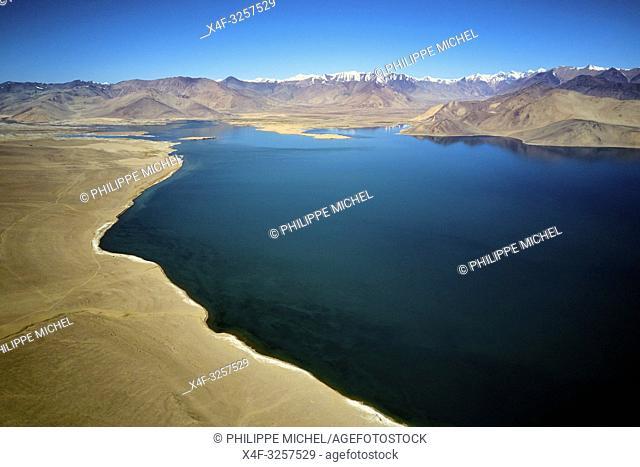 Tajikistan, Central Asia, Gorno Badakhshan, the Pamir, Wakhan valley, the Pamir highway, Karakul lake from above