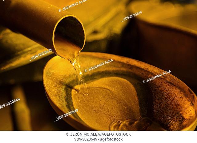 Alcohol distillation process. Armagnac Delord cellar, Lannepax. Le Gers Department, New Aquitaine, Midi Pyerenees. France Europe