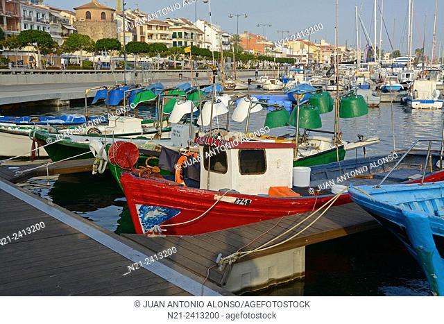 Fishing boats at Cambrils harbour. Cambrils, Tarragona, Catalonia, Spain