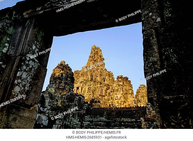 Cambodia, Angkor on World Heritage list of UNESCO, Bayon temple, built in 12th-13th century by King Jayavarman VII