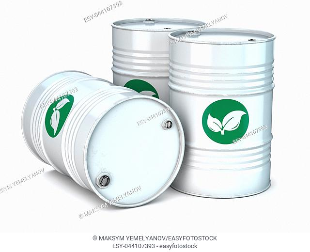 Bio fuel barrels isolated on white. Ecology, environment protection and alternative energy concept. 3d illustration
