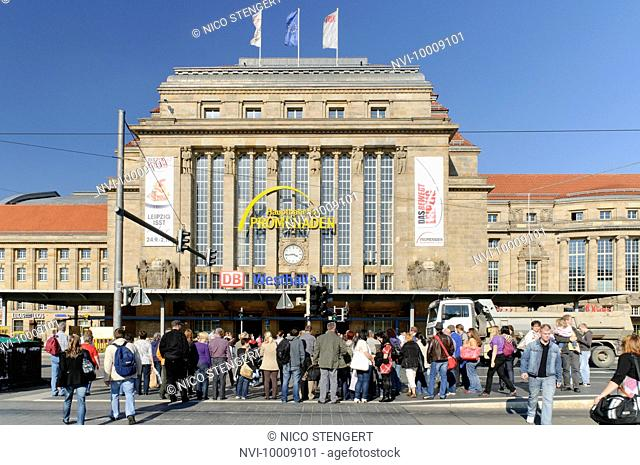 Pedestrians at the main station in Leipzig, Saxony, Germany, Europe
