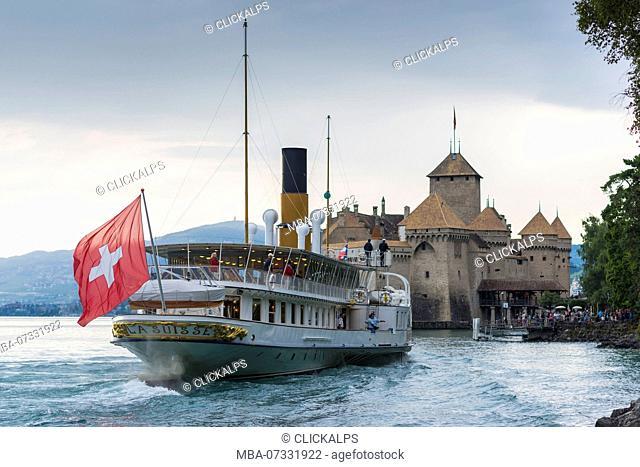 Boat landing near Chillon castle, Canton of Vaud, Switzerland, Swiss alps