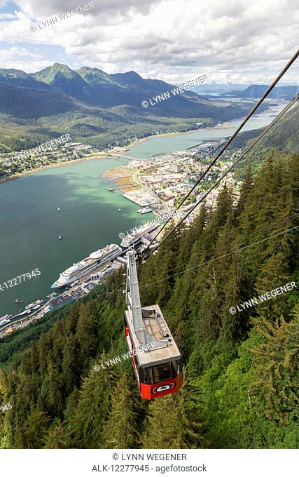 View of downtown Juneau from the tram going up Mt Roberts, Southeast Alaska, Summer