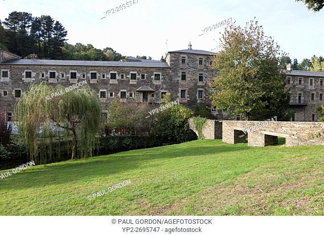 Samos, Spain: Aqueduct at the Benedictine Monastery of San Xulián de Samos crossing the Sarria River