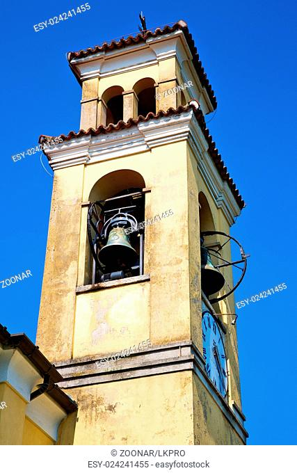 ancien clock tower in italy europe old stone