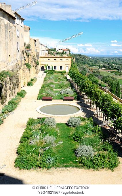 View from Lauris Château of Terrace Gardens and Durance Valley Lauris Luberon Provence France