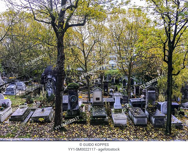 Paris, France. Pere Lachaise Cementery with trees and graves. One of the elder and more famous graveyards of the French Capital