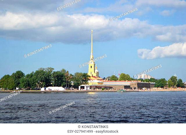 View of Peter and Paul Fortress and Neva River in St.Petersburg, Russia