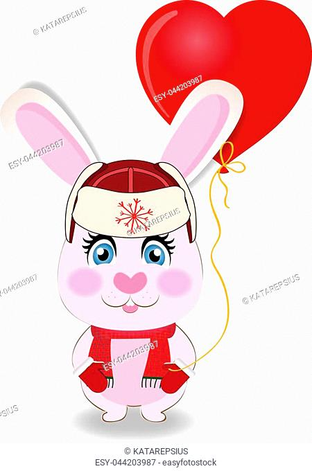 Cute cartoon rabbit in red hat with ear flaps, knit scarf and mittens holding red heart shaped balloon isolated on white background