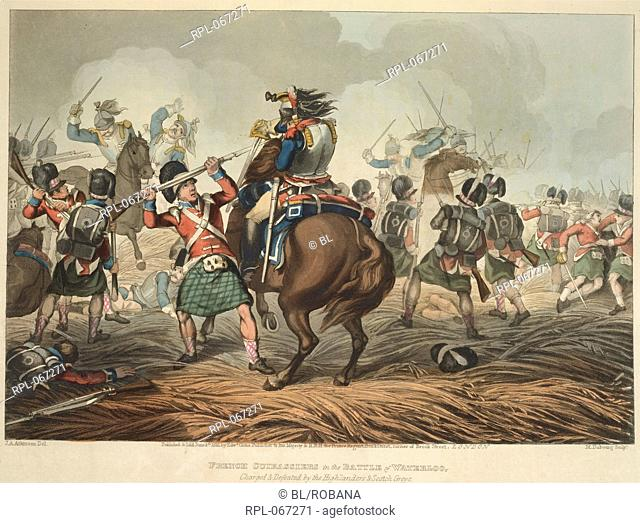 French cuirassiers fighting Scottish infantry at the Battle of Waterloo. Image taken from Historic, Military, and Naval Anecdotes of particular incidents which...