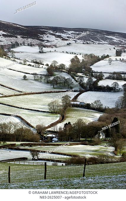A wintry landscape at springtime in Powys, Wales, UK