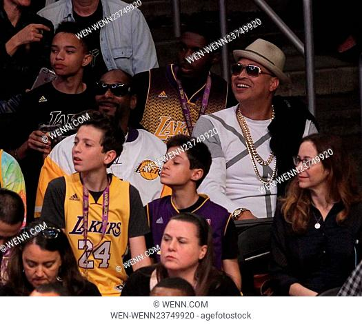 Wednesday April 13, 2016; Celebs out at the Lakers game. The Los Angeles Lakers defeated the Utah Jazz by the final score of 101-96 in Lakers Kobe Bryant's last...