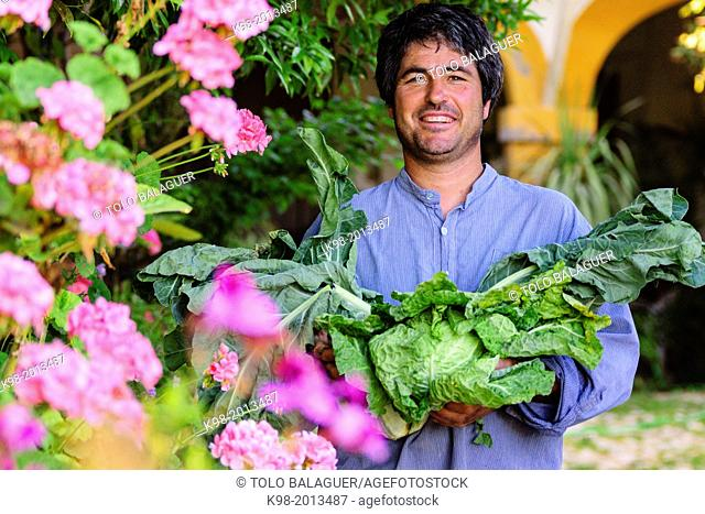 Farmer Toni Feliu, president of the Associació de Varietats Locals of Majorca, Majorca, Balearic Islands, Spain