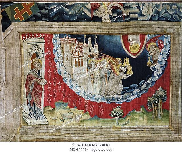 La Tenture de l'Apocalypse d'Angers, Les anges reçoivent leur flacon 1,51 x 2,47m, die Engel erhalten die goldenen Schalen des Zorns