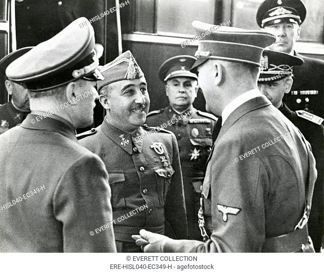 Spanish Fascist dictator Francisco Franco and Adolf Hitler meet for the first time, Oct. 23, 1940. In their 9 hour conference
