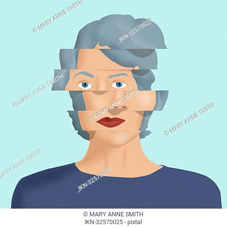 Shifted face of a woman