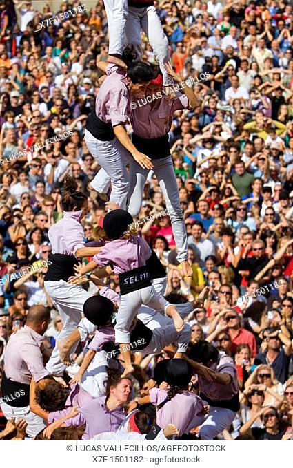 Minyons de Terrassa Human tower falling, `Castellers' is a Catalan tradition Festa de la Merçe, city festival  Plaça de Sant Jaume Barcelona, Spain