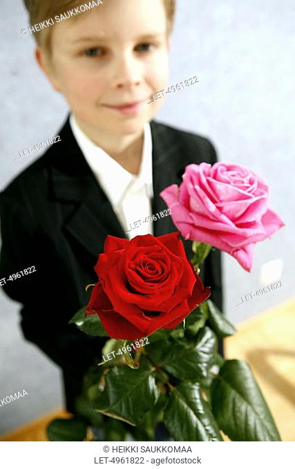 Mother's Day  Boy with roses