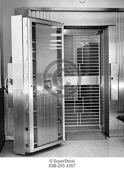 Open door of bank vault