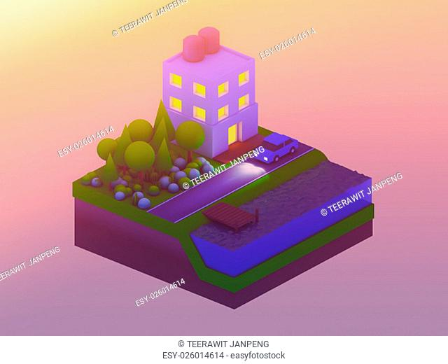 isometric city buildings, landscape, Road and river, isometric city background