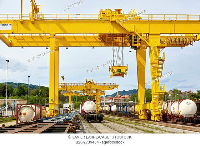 Gantry crane. Railway logistics center. Spain-France border. Irun. Gipuzkoa. Basque Country. Spain