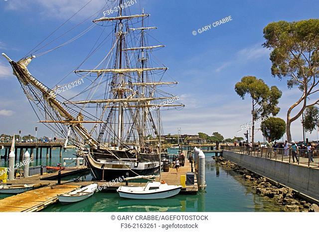 The Pilgrim, tall ship docked at Dana Point Harbor, Dana Point, Orange County, California