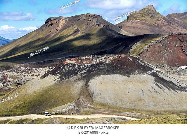 Stútur volcanic crater, Norðurnámshraun lava field, Landmannalaugar, Fjallabak Nature Reserve, Highlands, Iceland, Europe