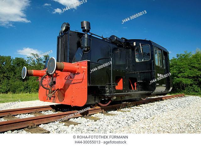 Bayern, Oberbayern, Berchtesgadener Land, Freilassing, Rupertiwinkel, Denkmal, Eisenbahn, Gleis, Gleise, Eisenbahngleis, Lok, Lokomotive, Köf, Koef