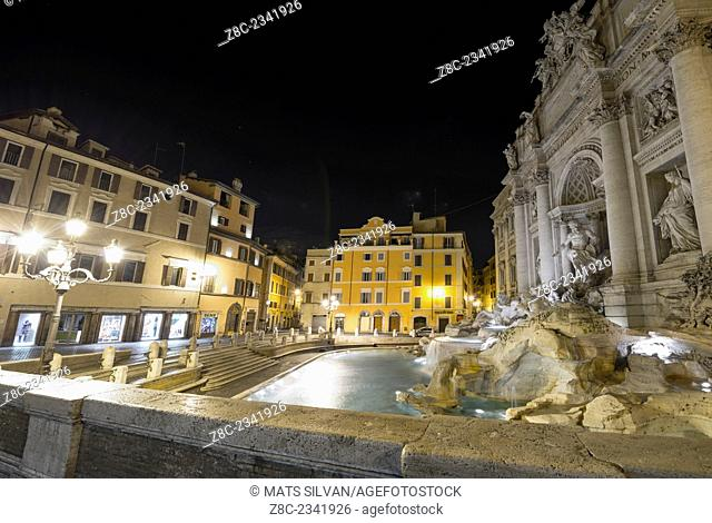 Trevi fountain and square at night in Rome, Italy