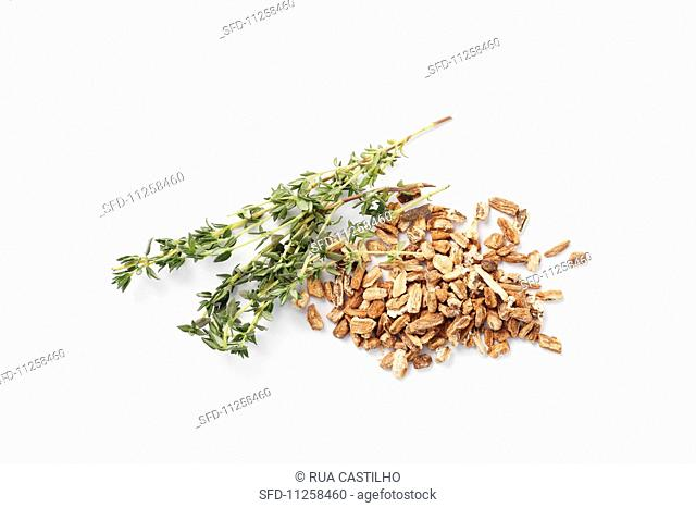 Dried garden angelica and fresh thyme