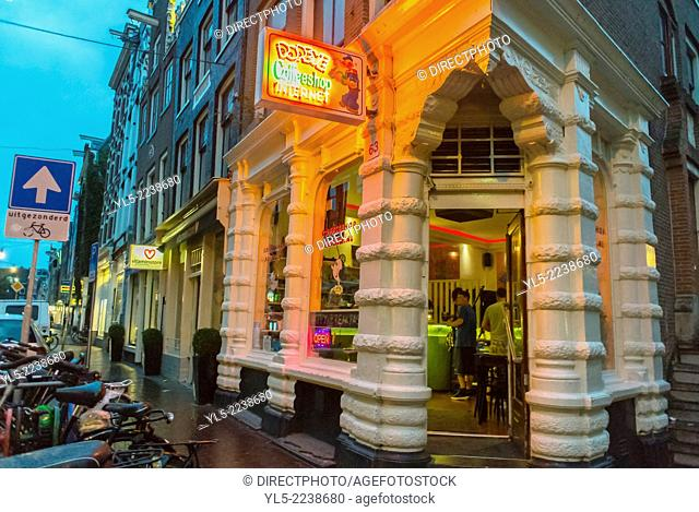 "Amsterdam, Holland, The Netherlands, Legalized marijuana """"Popeye"""" Coffee Shop, Store Front with Neon Lighting, Outside"