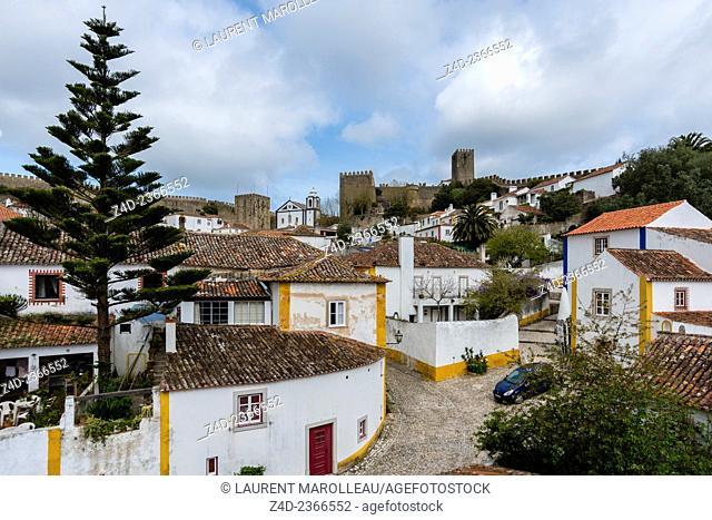 Obidos from the Castle Battlements. Obidos, Leiria District, Portugal, Europe