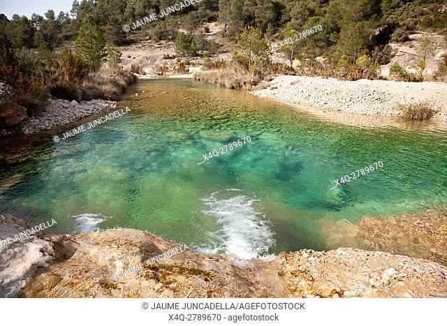 Waterfall in Ulldemo river, Aragon, Spain