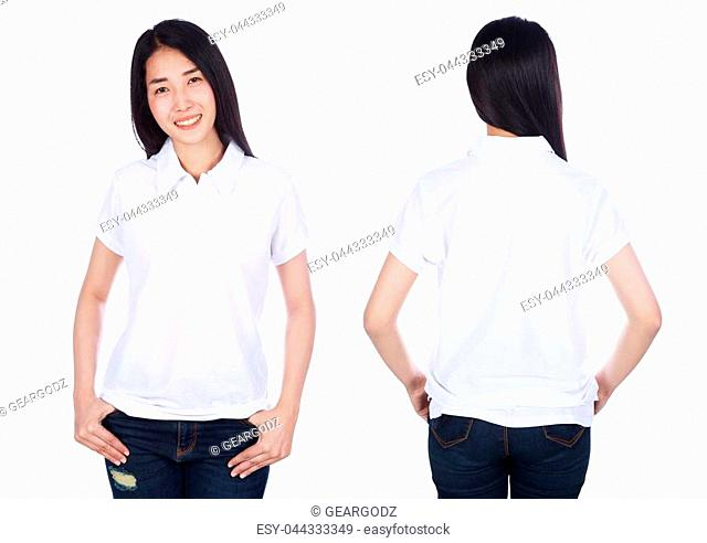 woman in white polo shirt isolated on a white background