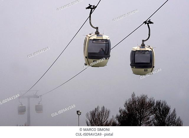 Trapani- Erice cablecars in mist, Sicily, Italy