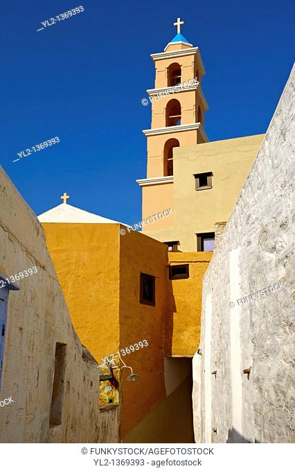 Bell tower of the Catholic church of Ano Syos, Syros  S  , Greek Cyclades Islands