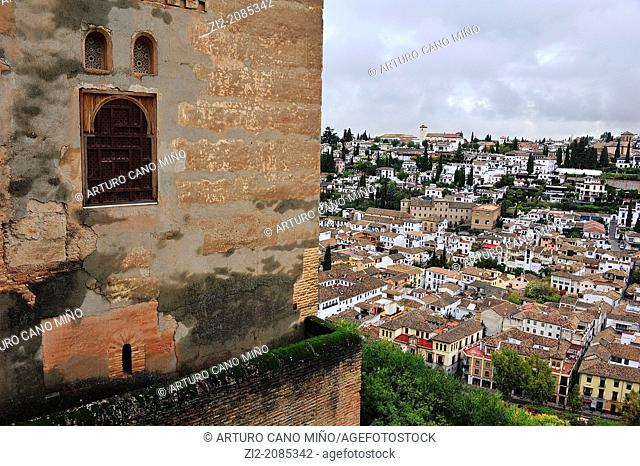 Albaicin fron Alhambra walls, Granada, Spain