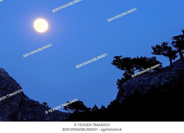 Black Sea coast on Crimea in Ukraine with Two Monks Rock