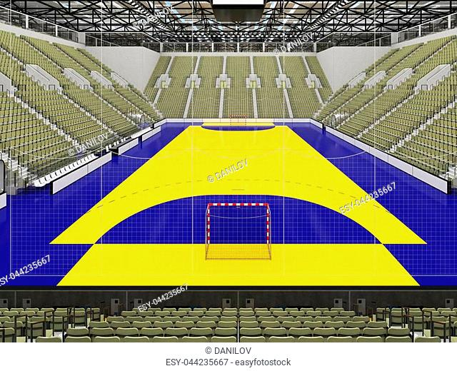 3D render of beautiful sports arena for handball with floodlights and gray olive green seats and VIP boxes for ten thousand people
