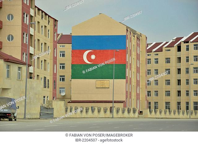Azerbaijani national flag on a wall, Baku, Azerbaijan, Caucasus, Middle East, Asia