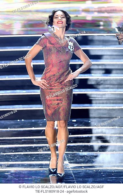 Nella foto Carlotta Maggiorana, Miss Italia 2018 during an exhibition on stage at the final of Miss Italia 2018, Milan, ITALY-17-09-2018
