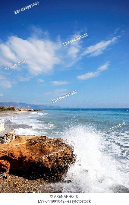 View along the beach and coastline, Torrox Costa, Malaga Province, Andalusia, Spain, Western Europe